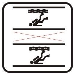 Dykning i springbassin tilladt i hver ende indenfor de markerede sorte felter