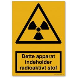 Dette apparat indeholder radioaktivt stof