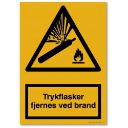 Trykflaske fjernes ved brand
