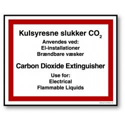 Kulsyresneslukker DK/ENG skilt