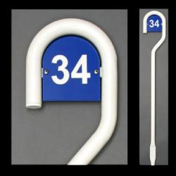 130 cm weiß pulverbeschichtet Zeichen mit Hausnummer