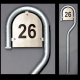 160 cm galvaniseret husnummerstander